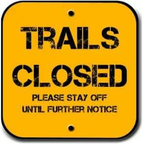 trails closed sign